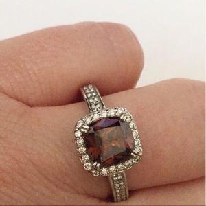 Brown smoky quartz silver ring